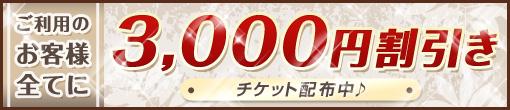 ご利用のすべてのお客様が対象:¥3000円割引きクーポン配布中☆